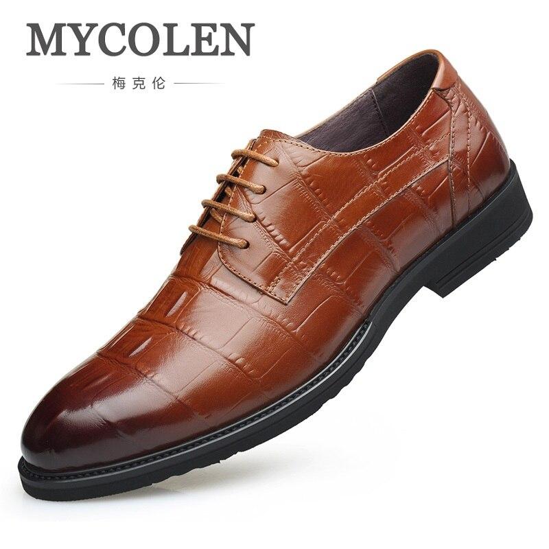 brown Casual Mycolen Clássico Lace Formal Vestido Negócios De Derby Da Sapatos Homens Casamento Dos Black Qualidade Marca Superior Couro up Hdxqwg0n
