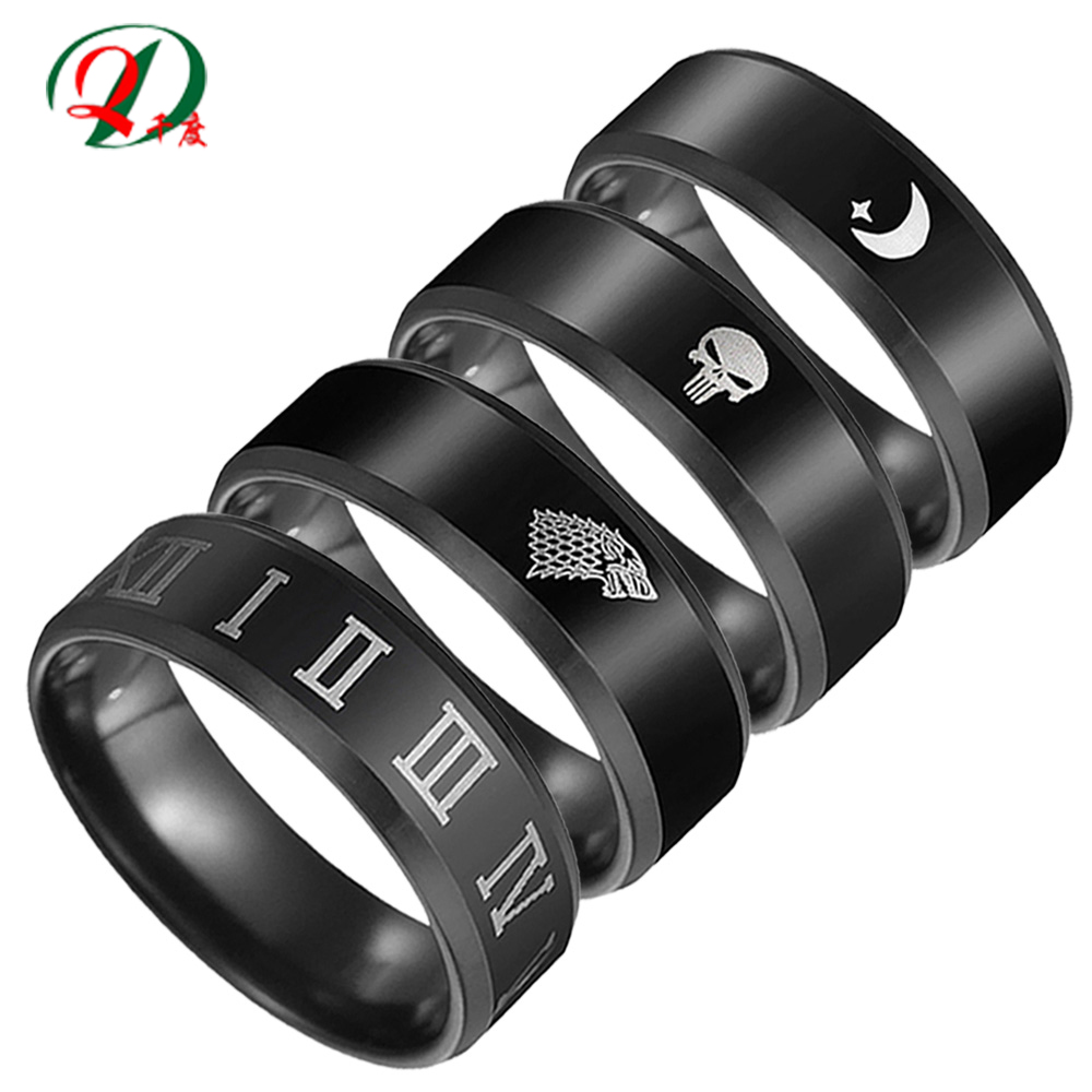 Qian Du men ring stainless steel jewelry accessories jewellery punk rings for male black finger moon kpop <font><b>bts</b></font> skull mens fashion image