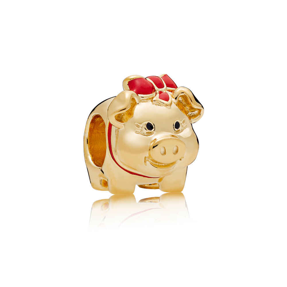 16 סגנון חדש אופנה כסף חרוז עלה זהב חלול אהבת מזל חזיר קריסטל חרוז לdiy פנדורה קסמי צמידי & צמידים