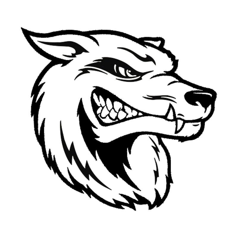 17 8 16 7cm Cartoon Scary Wolf Head Car Stickers Vinyl
