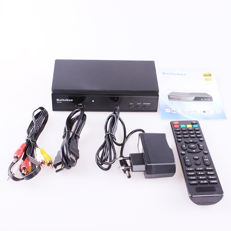 Hellobox V5 Satellite Receiver DVBS2 IPTV For Cccam Function Online  Software Upgrade Support Newcam Mgcam SCAM 2 Year TV BOX