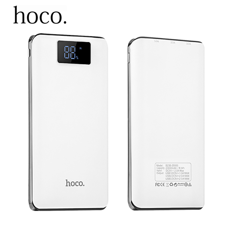 HOCO 18650 Power Bank 20000mAh Portable External <font><b>Battery</b></font> Pack Backup Charger LED 3 USB Powerbank for iPhone Samsung LG Xiaomi