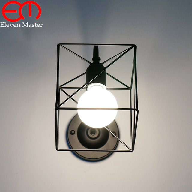 Black/Red/White Retro Vintage Industrial mini wire cage wall sconce ...