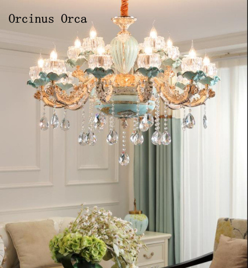 French Luxury LED Crystal Chandelier Living Room Dining Room European Creative Personality High-grade Ceramic Crystal Chandelier