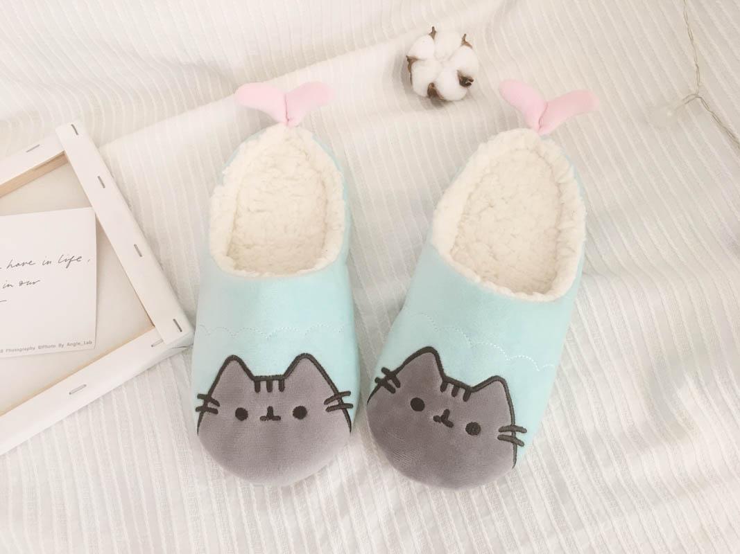 HTB1cq pbinrK1Rjy1Xcq6yeDVXau Millffy novo outono e inverno bonito dos desenhos animados gato chinelos de algodão de pelúcia piso doméstico sapatos de algodão mulher