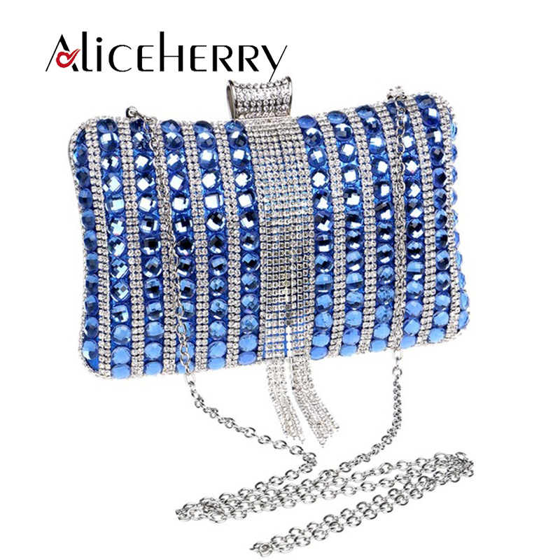 Women Party Bags Glass Diamond  Lady Wedding Evening Bag Clutch Bag High Grade Clutches Purse Blue Gold Red