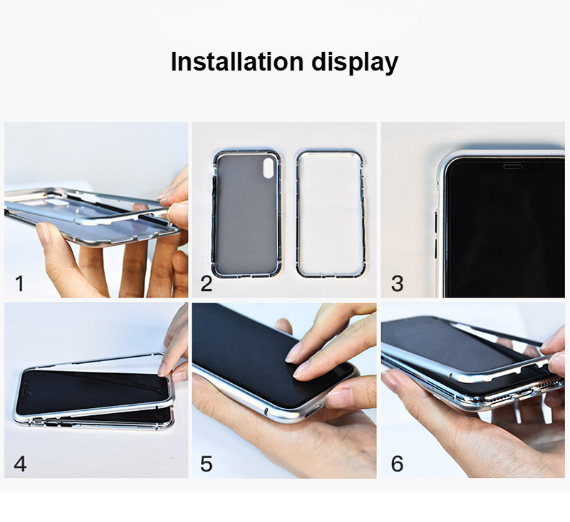 Magneto magnet metal bumper for iphone 7 8 X case luxury aluminum frame+9H tempered glass cover for iphone 7 8 plus 7plus coque (1)