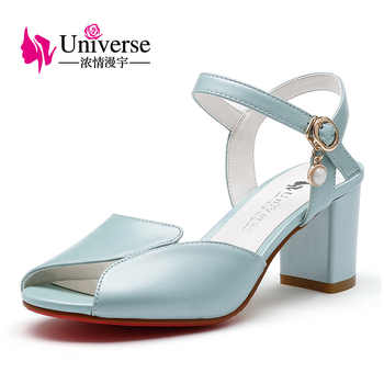 Genuine Leather Women Summer Sandals Universe White Pink Green Size 4.5-9 Women Comfortable Square Heel Sandals Shoes 6.5cm C146