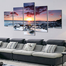 Canvas Pictures Home Decor Framed 5 Pieces Beach Sunset Glow Scenery Painting Print Poster Modular Living Room Wall Artworks TYG(China)