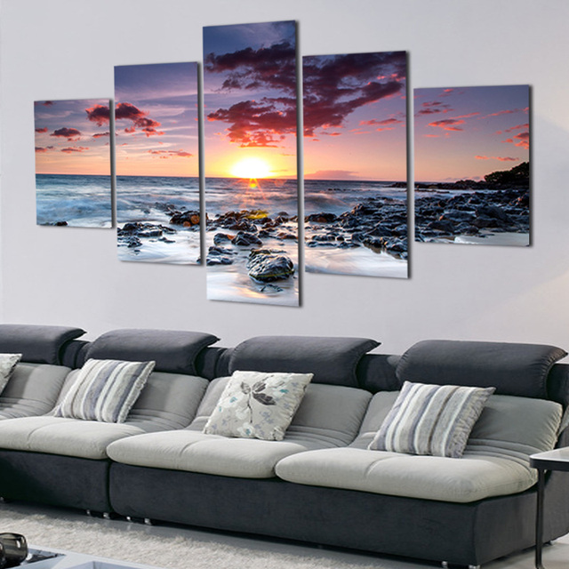 Canvas Pictures Home Decor Framed 5 Pieces Beach Sunset Glow Scenery Painting Print Poster Modular Living Room Wall Artworks TYG