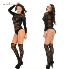Sexy Mature Woman Nylon Teddy Lingerie Bodystocking Outfit Lace Transparent Black Perspective