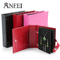 ANFEI Newest Fashion Women Gift Earring Holder Display Bag For 48 Pairs Earrings Travel Makeup Organizer