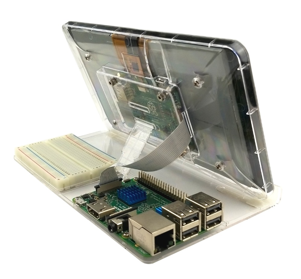 Image 4 - 7 Inch Touch Screen Display Transparent ABS Case for Raspberry Pi With Adjustment Stand Protective Shell-in Coat Racks from Furniture