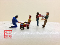 HO Scale 6pcs Pack Miniature Guys Model Scenery ABS Plastic 4 People With One Tractor And