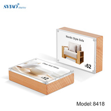 10x7cm Table Stand Card ID Display Upright Photo Frame Acrylic Sign Holder Picture Price Tag Label Sign Frame