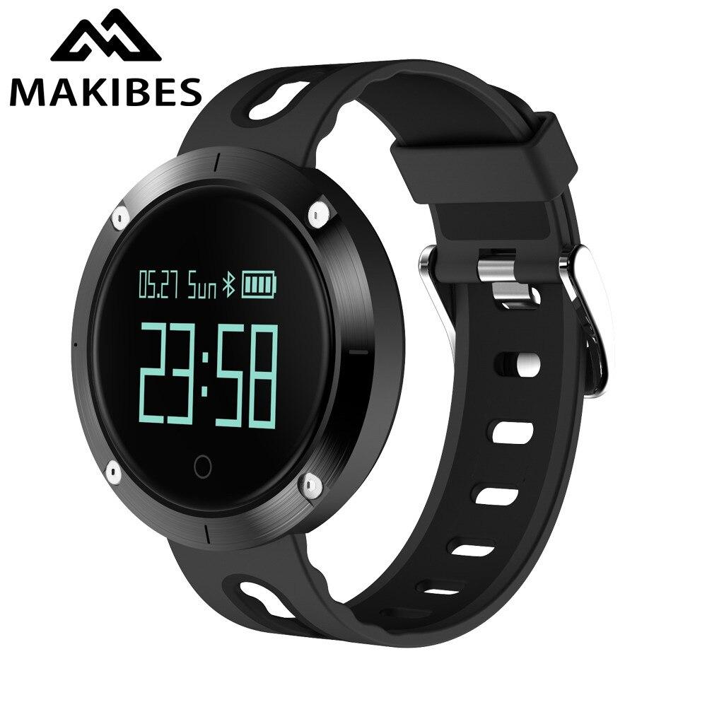 Makibes DM58 Bracelet montre intelligente hommes pression artérielle HR IP68 étanche appel Message rappel activité Tracker bande intelligente