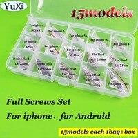 YuXi 15 modelle Voll Schrauben Set Kit Reparatur Ersatzteile für iPhone 6/6 s/6 p/6sp/7 P/5 Für Android 1.4*2,0/1,4*2,5/1,4*3,0mm