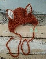 Newborn Fox Hat Baby Hand Knitting Mohair Bonnet Photo Props Photography Props Animal Hat