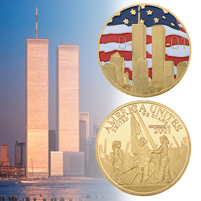 New York City 9/11 24K Gold Plated Coin U.S. September 11th United We Stand Challenge Coin With Round Plastic Box For Collection Versace