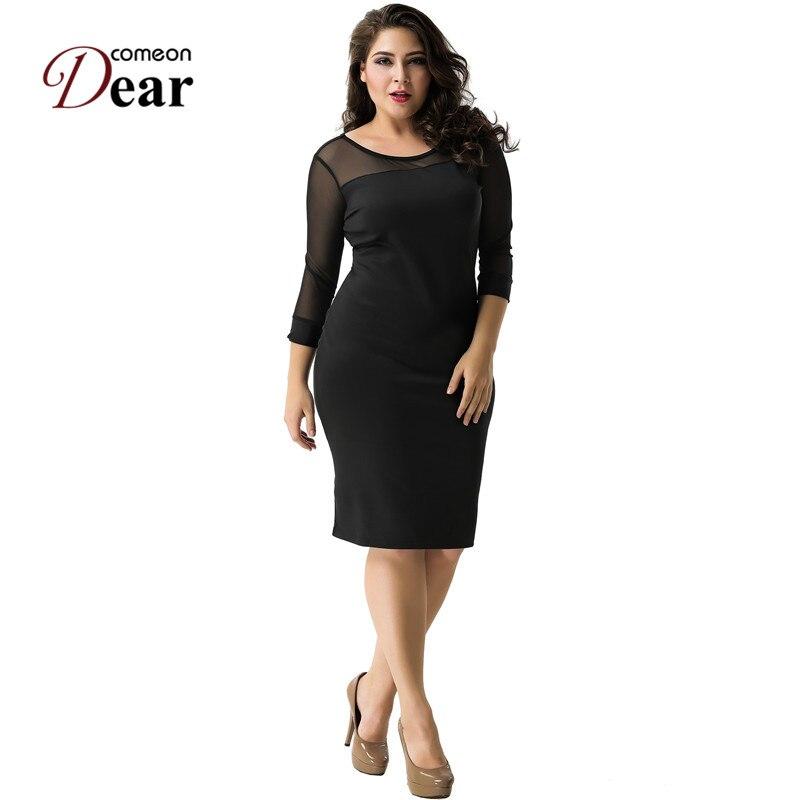 US $15.92 22% OFF|Comeondear RA80178 Autumn Plus Size Dress Black 3/4  Sleeve Dress Elegant Black Mesh Dress Knee Length Pencil Bodycon Dress-in  ...