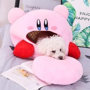 Image 4 - Tronzo 50cm Kirby Plush Soft Sleep Pillow Cap Kawaii Anime Game Kirby Sleep Pillow Cushion Soft Pet House Doll Toys Dropship