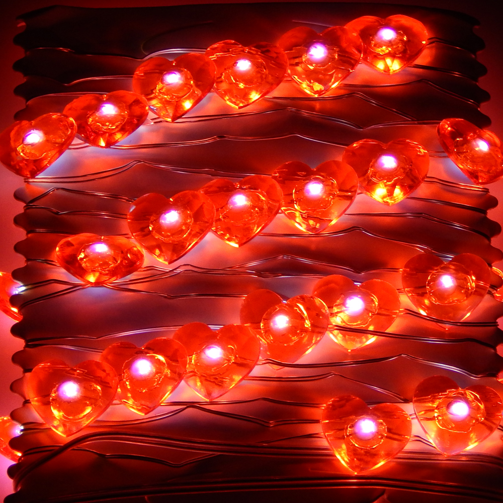 3M 40LEDs Batteri LED Hjärtformade Strålkastare Starry Fairy Lights För Mors Dag Alla hjärtans dag Bröllopsfest Dekoration