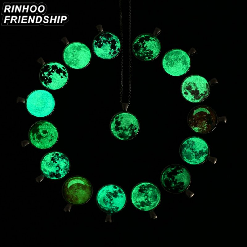 Hot Glass Luminous Star Series Planet Necklace Crystal Cabochon Pendant Women Glow in the Darkness Necklaces Christmas Jewelry