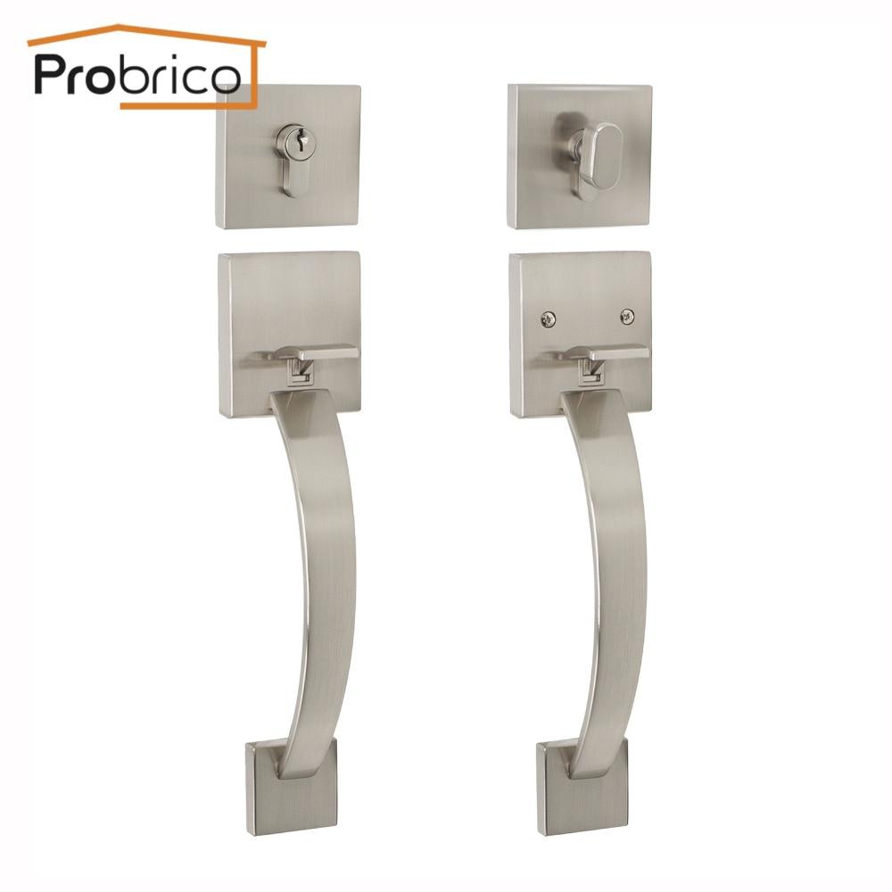 Probrico Grip Handle Lockset Exterior Square Single Cylinder Deadbolt Handleset Brushed Nickel Hardwaere For Entry Front Door-in Handlesets from Home Improvement    1