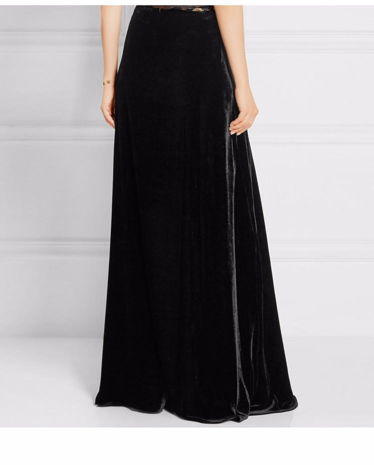 38905ca343327f WBCTW Velvet Skirts Vintage Fashion A-Line Long Warm Skirts Solid Plus Size  High Waist Autumn Winter Skirt Maxi SKirts for Women