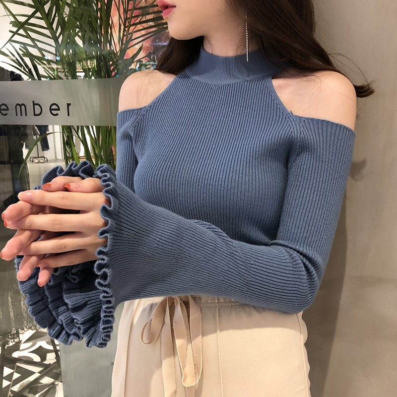 Sexy Off Shoulder Flare Sleeve Women Thin Sweater Knit Sweater Women Computer Knitted Turtleneck Pullovers Tops Black White