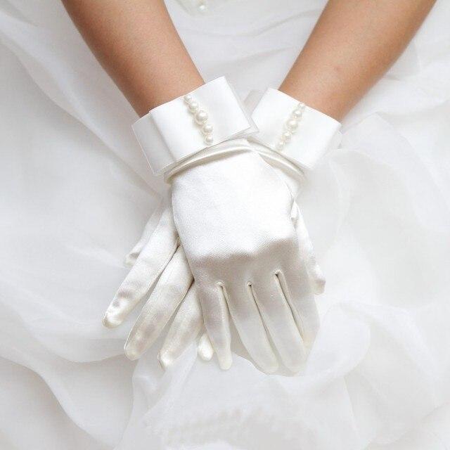 Ivory Satin Gloves