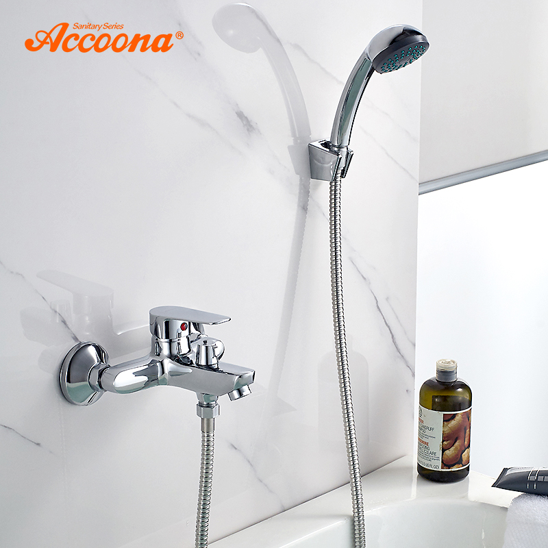 Accoona Bathtub Faucet Brass Wall Mounted Mixer Tap Chrome Cold And Hot Single Holder Dual Control Bath Shower Faucets A6365