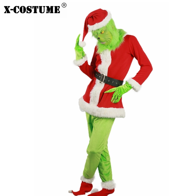 c52bee1b9 Brand New Sale 2018 Santa Grinch Costume How the Grinch Stole Christmas  Party Cosplay Suit Outfits for Men Women