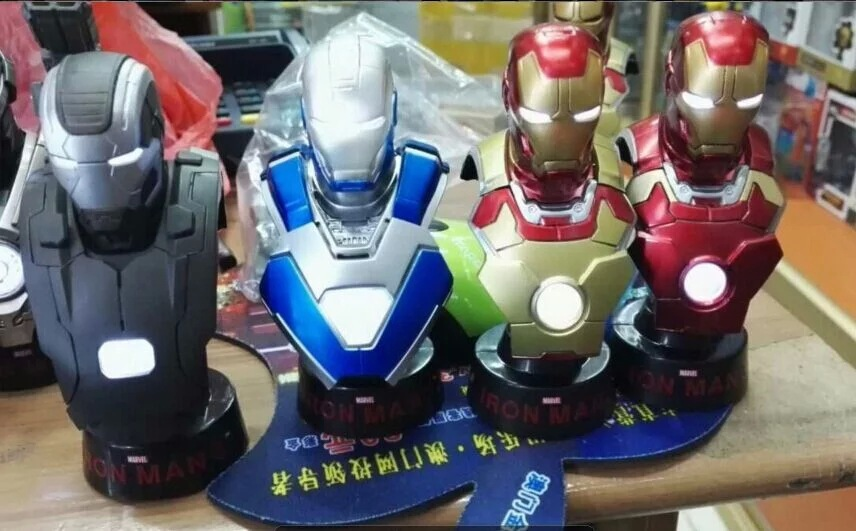 Marvel Iron Man 3 Bust 1/6 Scale Collectible Busts with LED Light PVC Action Figures Model Toys 12cm 4pcs/set KT1798 patrulla canina with shield brinquedos 6pcs set 6cm patrulha canina patrol puppy dog pvc action figures juguetes kids hot toys