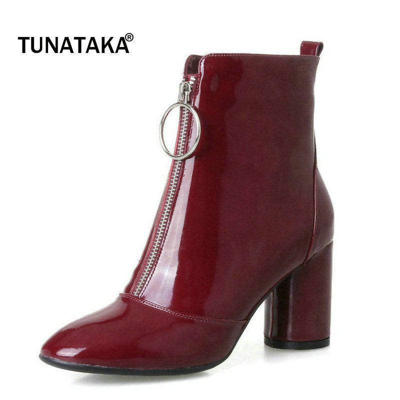 Woman Genuine Leather Square High Heel Zipper Winter Short Plush Ankle Boots Fashion Round Toe Dress Boots Black Wine Red 4 colors round toe charm high heel genuine leather platform martin ankle boots fashion western high quality short womne boots