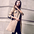 Dust coat cultivate one's morality spring 2016 new women's big yards long sleeve double-breasted women's coat