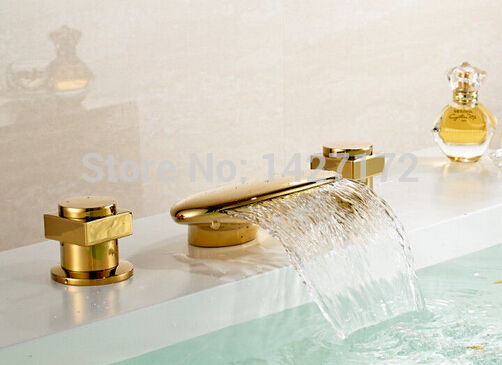 Deck Mounted Bathroom Golden Finished Brass Basin Faucet