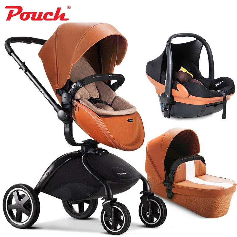 Marca passeggini per bambini 3 in 1 auto luce il bambino pieghevole bambino passeggino con seggiolino auto e culla del bambino di custodia In Pelle 2 in 1 neonato