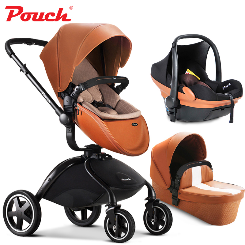 Marque bébé poussettes 3 dans 1 bébé voiture pliante lumière bébé poussette avec siège d'auto et bébé bassinet En Cuir poche 2 dans 1 nouveau-né