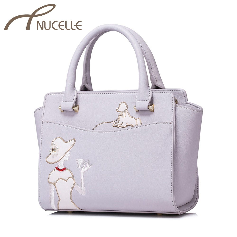 NUCELLE Women's PU Leather Handbags Ladies Fashion Embroidery Messenger Tote Purse Female Elegant Wings Crossbody Bags NZ4036