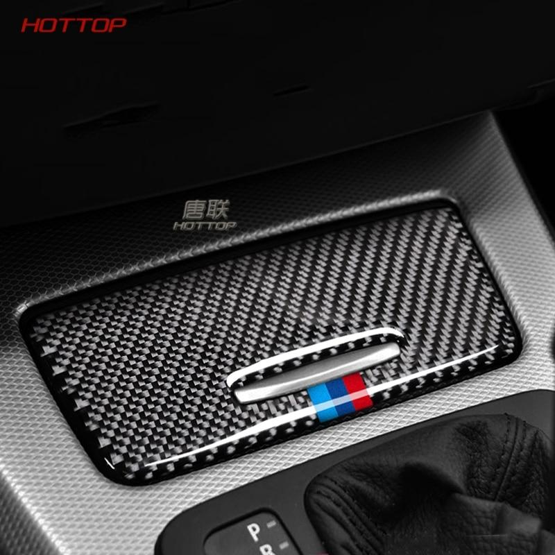 For BMW E90 E92 E93 Carbon Fiber sticker Interior Car Storage Box Panel Trim Cover decals For 2005-2012 3 series Accessories