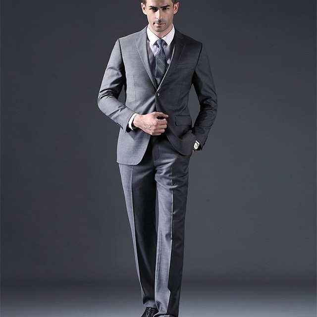 Pantalones smoking gris hombres traje slim fit unidades smoking trajes de  estilo custom jpg 640x640 Pantalones a9e70c5ae77