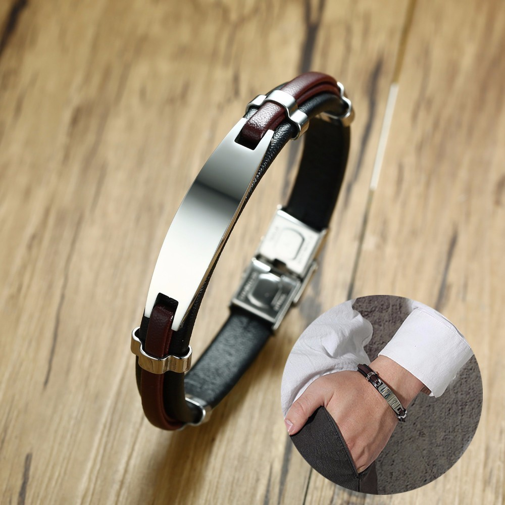 Personalized ID Tag Leather Bracelet Engraved Custom Text Customized Men Braslet for Male Brackelts Armband Jewelry недорого