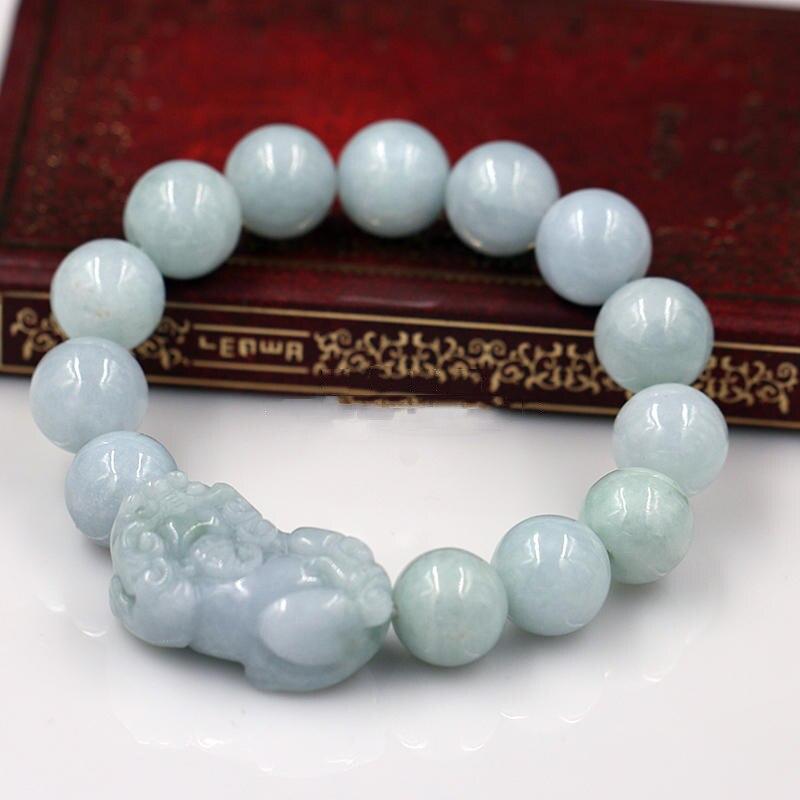 KYSZDL Natural Burma stone carving Pixiu bead bracelet brave men and women Lucky stone bracelet jewelry gift