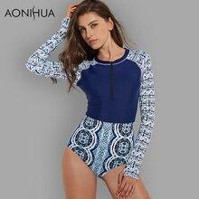AONIHUA One Piece Surfing Swimsuits Women Long sleeve 2018 Slim Sport Rash Guards Push up Swimwear female Bathing Suits 2159
