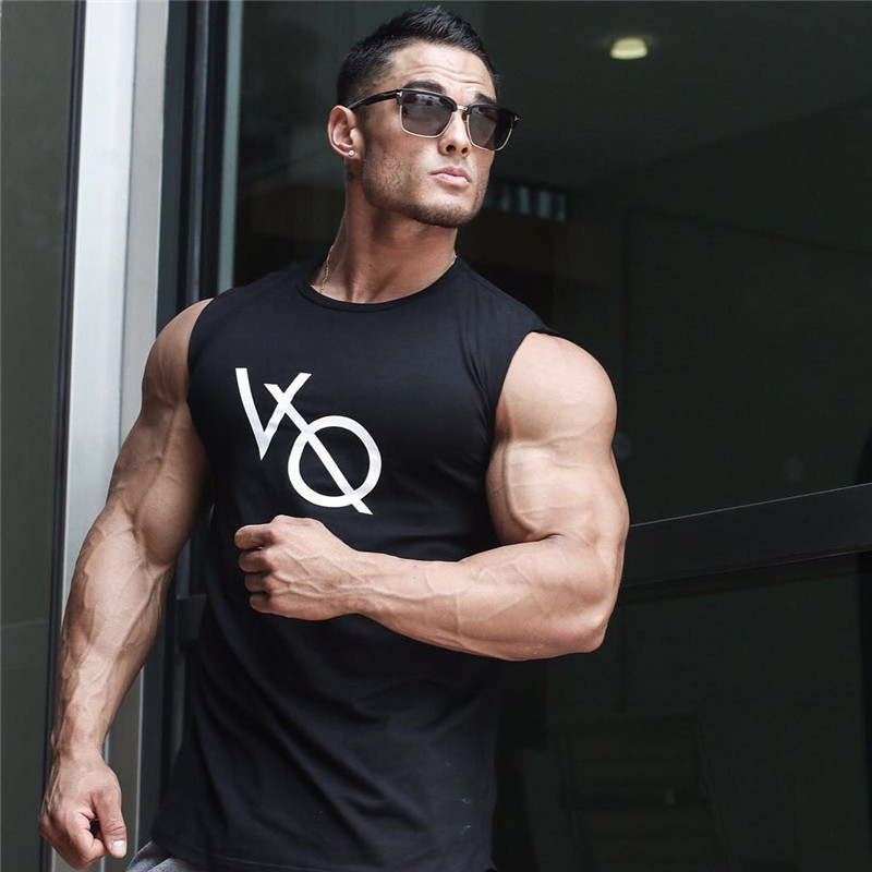 2019 Summer Vanquish Fitness Men   Tank     Top   Mens Bodybuilding Stringers Gyms   Tank     Tops   Singlet Brand Clothing men Sleeveless Shirt