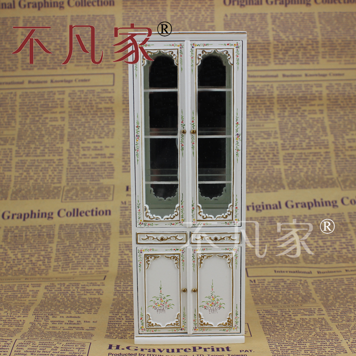 Dollhouse 1/12 Scale Miniature furniture Hand painted combination Double door Glass cabinet