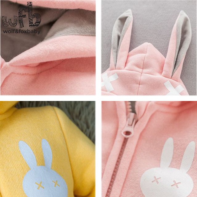 Retail 0-2 years jumpsuits rompers Baby child children thickened for winter printed rabbit