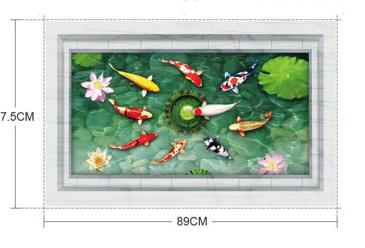 ჱvis spelen in de vijver muur muurschildering poster nep frame