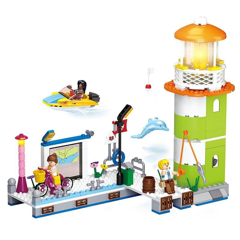 SLUBAN 0607 277 шт. Розовая мечта (Новый)-dolphin bay pier. legoings игрушки для детей развивающие строительные блоки 3D DIY